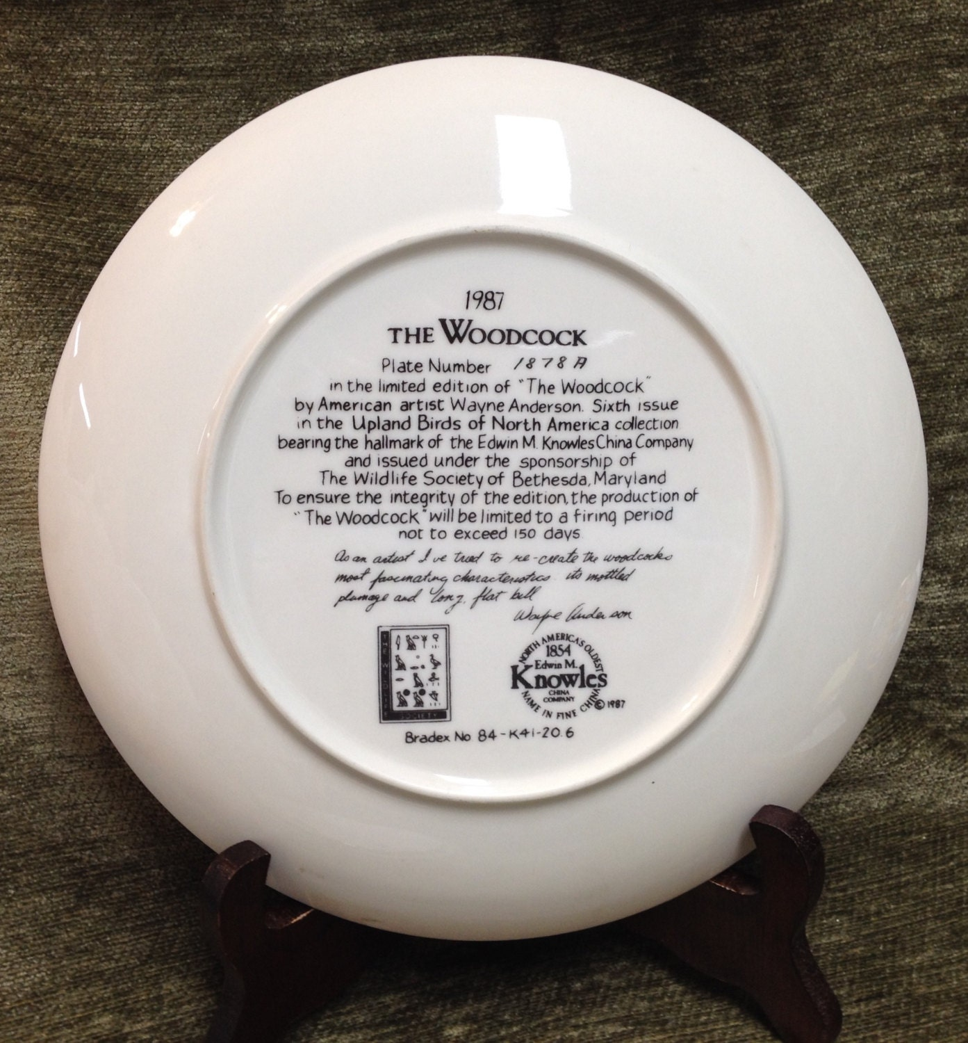 Woodcock Plate 1987 Collector's Plate By Wayne By