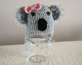 Handmade Koala Hat Newborn Photo Prop Girls Boys Cute Hat Crochet UK Seller
