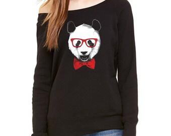 Fancy Panda With Glasses Scoop Neck Sweatshirt - Hipster Panda Sweatshirt -  Raglan - Cool Fashion - Off the Shoulder