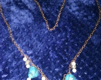 Faux turquoise and copper strand necklace