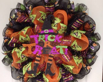 Trick Or Treat Witch Deco Mesh Halloween Wreath