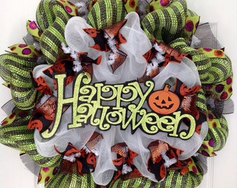 Happy Halloween Sign With Jack O'Lantern  Deco Mesh Wreath