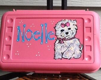 Puppy pencil box, puppy art box, school box, puppy supply box, puppy school box, yorkie pencil box, yorkie art box, yorkie supply box