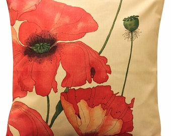 Swaffer Poppyfields Red & Ivory Floral Cushion Cover