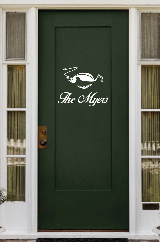 Custom text and fish door decal for Door design johor
