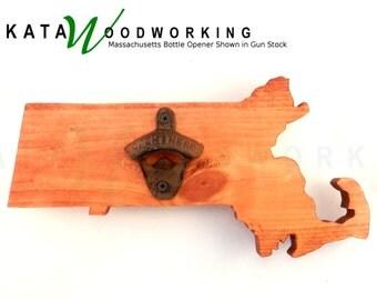 Massachusetts Shaped Wood Cut-out Bottle Opener - Wall Mount - Handmade!