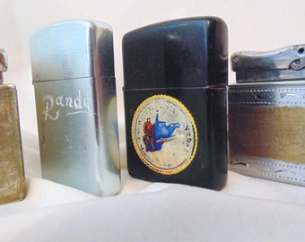 INSTANT COLLECTION Of Four Vintage Cigarette Lighters Worn Patina