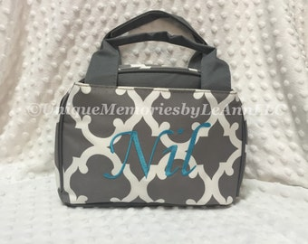 Geometric/Quatrefoil insulated Lunch bag with FREE Monogram or Name - Great for School, Travel, Brides, Housewarming, Birthdays, Christmas