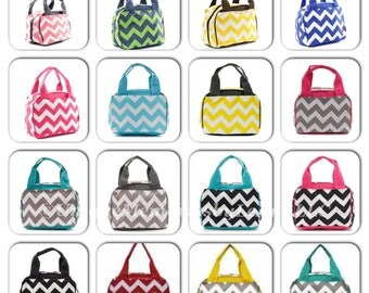Chevron insulated Lunch bag with FREE Monogram or Name 26 colors - Great for School, Travel, Birthdays, Christmas, Brides, Bridesmaids,