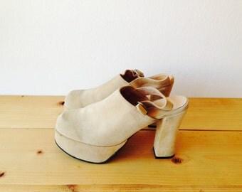 Vintage 70's Suede Mule Shoes/Mod/Festival/Hippie/Cream Suede Shoes/Rocker/Grunge Shoes/Dead Stock/70's Shoes/90's/Boho Shoes/EU 40/US 10