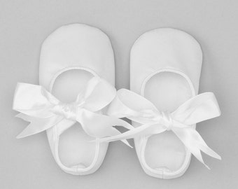 Baby Girl Shoes White, Baby Girl Shoes Satin Soft Sole Pre-Walkers, Baby Shoes with Satin Bow, Baby Shower Gift, Christening and Baptism