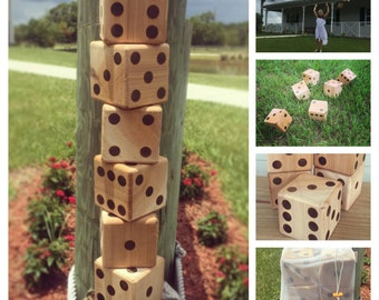Yard Dice + Yahtzee Scorecards with bag: Set of 6 Wooden Dice, Wood Dice, Camping Dice, Wedding Lawn Game, Outdoor & Indoor Large Dice