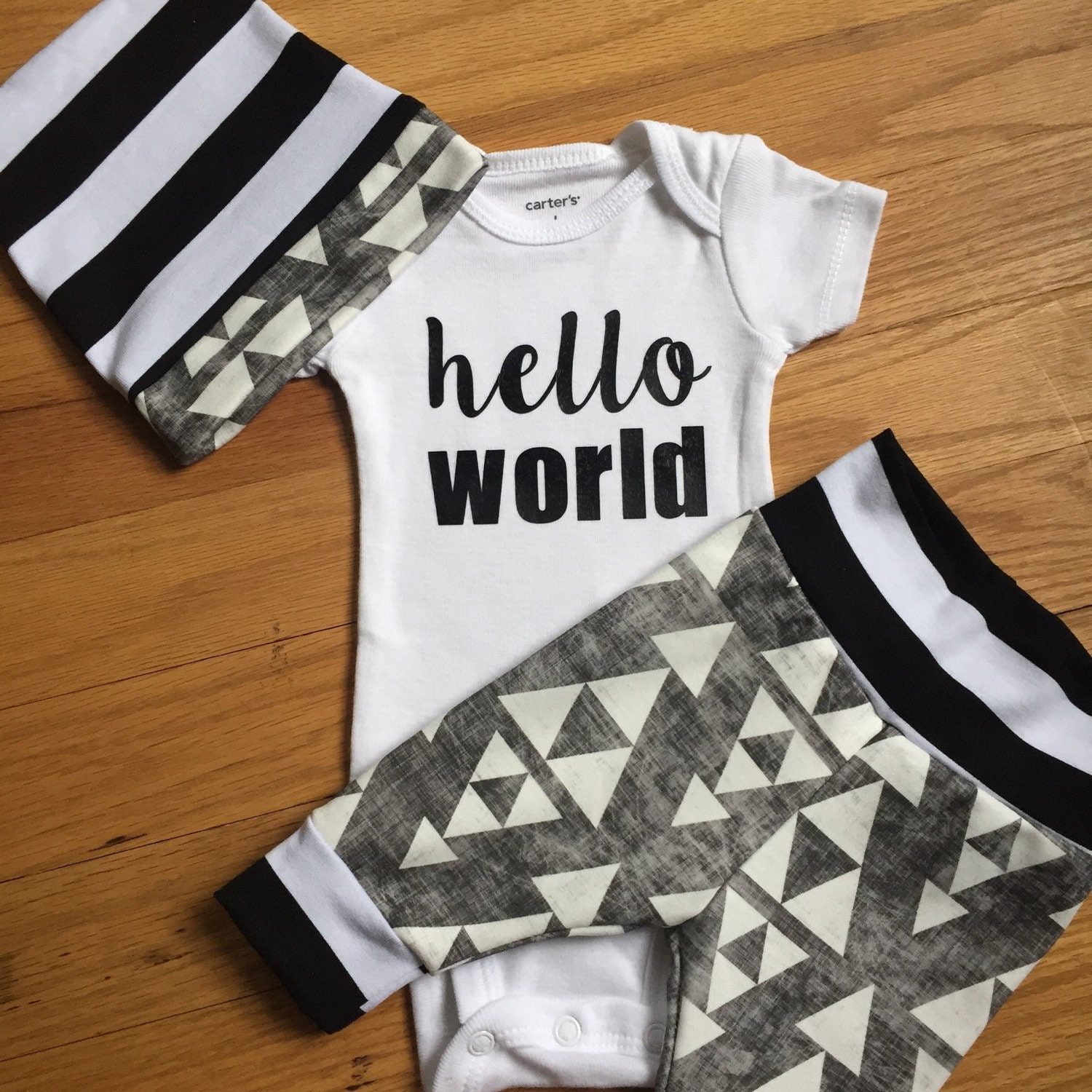 Baby boy coming home outfit black triangle theme by GigiandMax