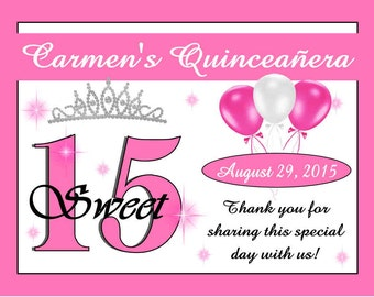 15 ~ Pink QUINCEANERA Party Favors Personalized Magnets~ Free Shipping