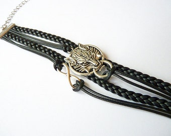 black bracelet, wolf