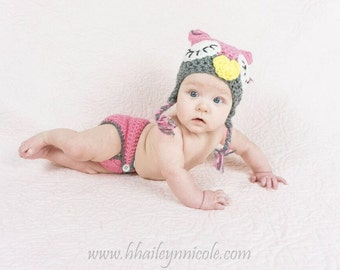 Crochet Newborn Owl Outfit Photography Prop
