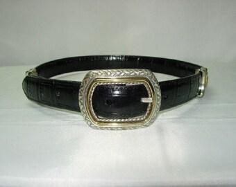 Vintage Black Brown Moc Croc Leather Belt Small