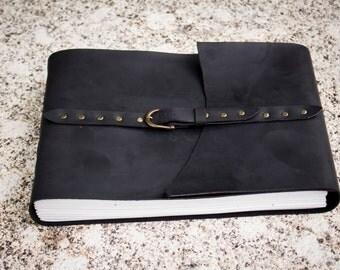 The Artist Black Sketchbok, Large Leather Sketchbook, White Paper, A4, Black Leather