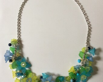 Beaded necklace lucite flowers Handmade - Womens Jewelry