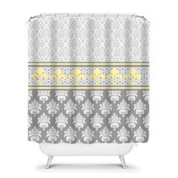 Gray And Yellow Royal Damask Shower Curtain Fleur De Lis