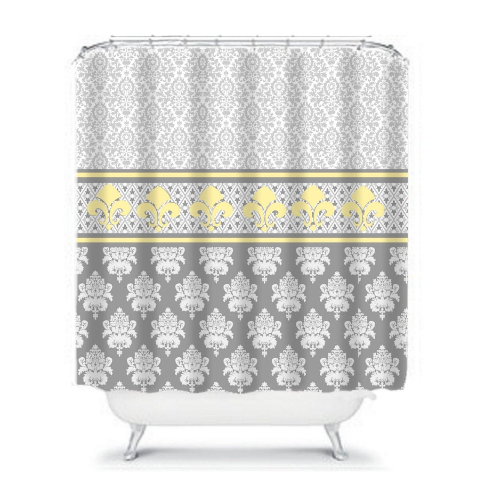 Gray and yellow royal damask shower curtain fleur de lis - Fleur de lis shower curtains ...