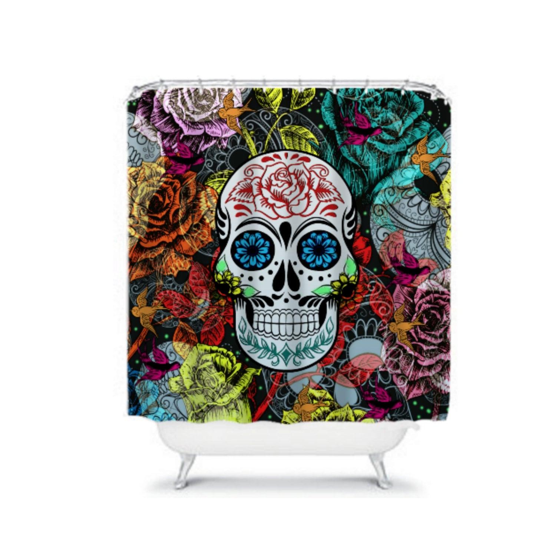 sugar skull shower curtain d a de muertos garden by folkandfunky. Black Bedroom Furniture Sets. Home Design Ideas