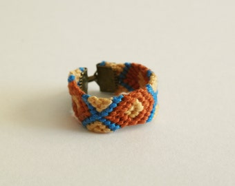 SALES ! 30% off CHEYENNE woven cotton ring / rust and electric blue