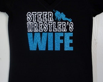 Custom Steer Wrestler's WIFE Tshirt - customize for your favorite colors!