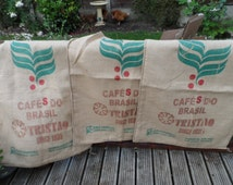 Large Hessian or Burlap Coffee Sack -  Cafés Do Brasil (Style 1) Sack cloth for Cushion making upholstery wall hanging creative display