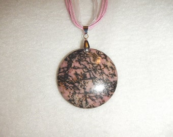 Round Black and Pink Rhodonite pendant (JO291)