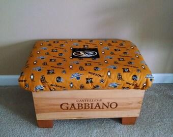 Mizzou wine crate ottoman with storage