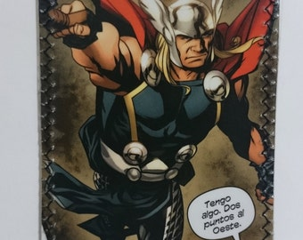 Thor fighting - Recycled Comic book wallet, slim wallet, hanmade wallet, card holder, thin wallet, vinyl wallet, mens wallet