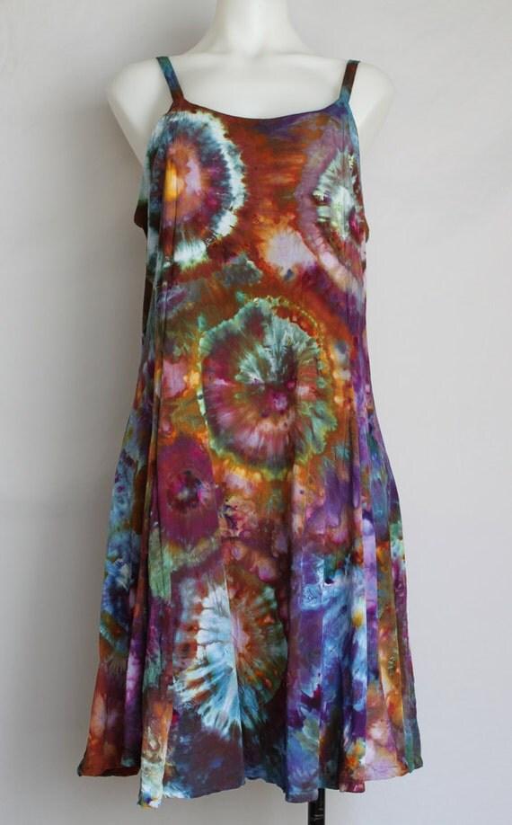tie dye rayon sun dress summer dress dyed clothing