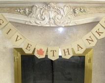 GIVE THANKS burlap banner - rustic Thanksgiving banner- Autumn home decor - Thanksgiving decoration -  Fall Decor - Thanksgiving photo prop