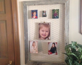 Old Barnwood chicken wire Memory frame
