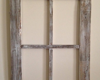 Old weathered wood lg  4 panel window