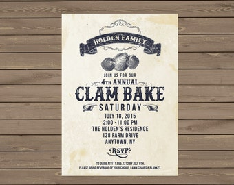 Clam Bake Invitation - Vintage - Digital File - Party Invitation