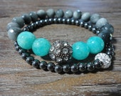 Gray Hawks Eye and Turquoise Jade  Beaded Bracelet/Crystal Pave/Gray and Blue