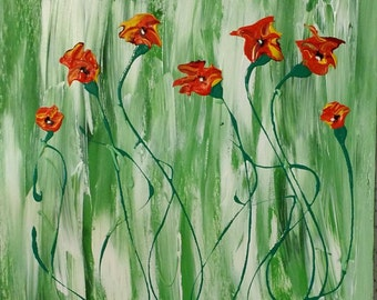 Abstract Acrylic Painting Poppies 20x20x1.5inches