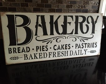 Bakery Wood Sign Rustic Distressed Baked Fresh Daily