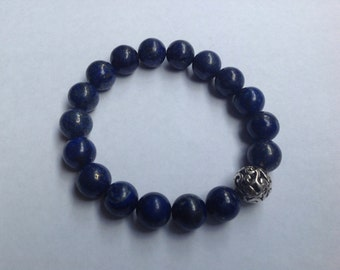 Blue lapis bead bracelet with silver bead new handmade