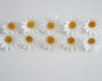 10 daisies - white, pink and light blue daisies - 10 gerberas - artificial flowers - craft flowers