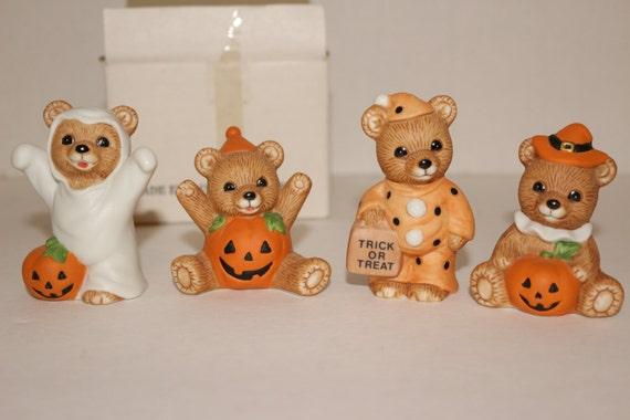 Homco Teddy Bear Figurines Halloween Fall By Tresorsenchantes