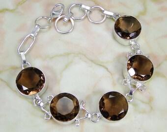Bracelet 925 Sterling silver smoky quartz
