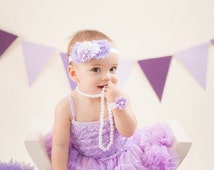 Baby girl first birthday dress. Girl birthday outfit. Tutu dress. Petti skirt. Lavender Cake smash outfit.