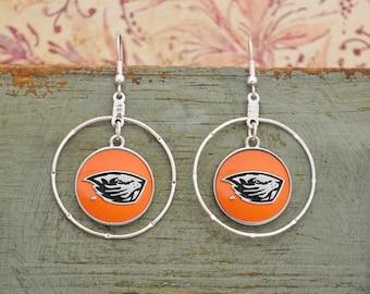 Oregon State Beavers Iridescent Round Earrings