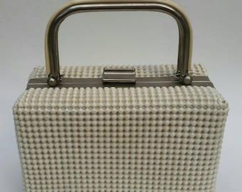 60s Box Purse Textured Ivory Beaded Handbag