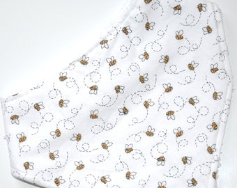 Dribble Bib, Bees on White Background, 100% Cotton, Bamboo Terry Backing