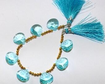 AAA Aqua Blue Quartz Concave Cut Heart Briolettes Size 15 x 15 mm Set of 8 Pieces 4 matched Pair 0001