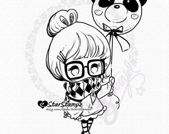 Panda Balloon DIGITAL STAMP Instant Download